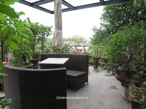 River view villa in Long Bien Hanoi rental with large garden